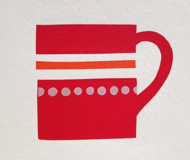 Francesca Chalk red coffeee cup hand screen print